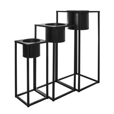 Flower Display Stand - Metal Display Stand Set 3 With Pot Black (16.5Dx22.5cmH)