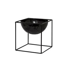 Home Decor Metal Pot Planters - Metal Display Stand With Pot Glossy Black (13x13x13cmH)