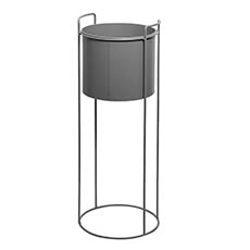 Flower Display Stand - Metal Display Stand With Round Pot Dark Grey (28Dx80cmH)