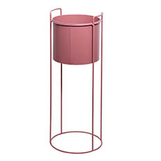 Flower Display Stand - Metal Display Stand With Round Pot Dusty Pink (28Dx80cmH)