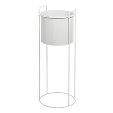 Flower Display Stand - Metal Display Stand With Round Pot White (28Dx80cmH)