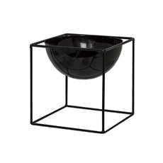 Tin Metal Deco Planters - Metal Display Stand With Pot Glossy Black(16.5x16.5x16.5cmH)