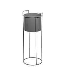 Flower Display Stand - Metal Display Stand With Round Pot Dark Grey (23Dx65cmH)