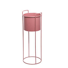 Flower Display Stand - Metal Display Stand With Round Pot Dusty Pink (23Dx65cmH)