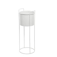 Flower Display Stand - Metal Display Stand With Round Pot White (23Dx65cmH)