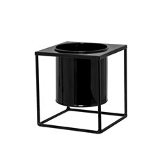 Tin Metal Deco Planters - Square Metal Display Stand With Pot Glossy Black(13.5x15cmH)