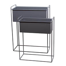 Flower Display Stand - Metal Display Stand Rectangle Dark Grey Set of 2 51x24x65cmH