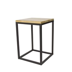 Merchandising Displays - Metal Display Stand Timber Top Natural/Black 35x35x48.5cmH