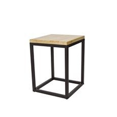 Merchandising Displays - Metal Display Stand Timber Top Natural/Black 30x30x40.5cmH