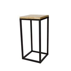 Merchandising Displays - Metal Display Stand Timber Top Natural/Black 30x30x62cmH