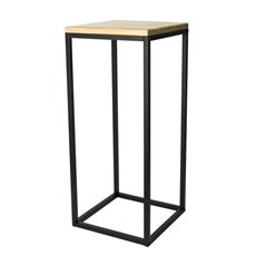 Merchandising Displays - Metal Display Stand Timber Top Natural/Black 35x35x81cmH