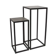 Merchandising Displays - Metal Display Stand Set 2 Marble Top Grey/Black 36x36x80cmH