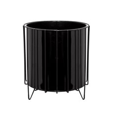 Tin Metal Deco Planters - Metal Display Stand with Pot Glossy Black (24x28cmH)