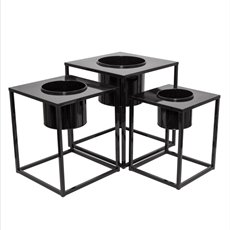 Home Decor Metal Pot Planters - Metal Display Stand Set 3 With Pot Black 45x45x50.5cmH