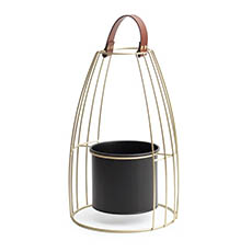 Home Decor Metal Pot Planters - Xinda Metal Stand with Pot Black & Gold (29x45cmH)