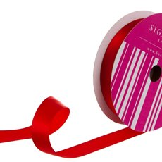 Satin Ribbons - Bulk Ribbon Single Face Satin Red (25mmx50m)