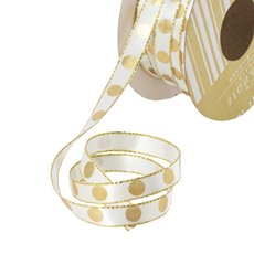 Satin Ribbons - Single Face Satin Ribbon Dot Cream Gold (10mmx20m)