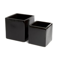 Ceramic Bondi Cube Med Set 2 Black (15x15x15cmH)