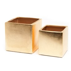 Metallic Pots - Ceramic Bondi Cube Med Set 2 Metallic Gold (15x15x15cmH)