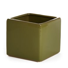 Ceramic Bondi Cube 13x13x12cmH Single Avocado