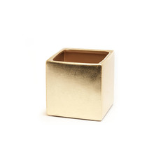 Metallic Pots - Ceramic Bondi Cube (13x13x12cmH) Single Metallic Gold