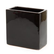 Ceramic Bondi Rectangle Vase 8x16x16cmH Black