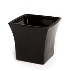Ceramic Flora Flared Square Pot 15x15x15cmH Black