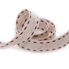 Cotton & Linen Ribbons - Ribbon Muslin Burgundy Stitch (15mmx20m)