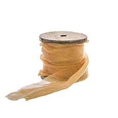 Cotton & Linen Ribbons - Ribbon with Wooden Spool Faux Silk Frayed Apricot (80mmx5m)