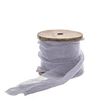Cotton & Linen Ribbons - Faux Silk Ribbon Frayed with Wooden Spool Blue (80mmx5m)