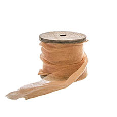 Cotton & Linen Ribbons - Faux Silk Ribbon Frayed with Wooden Spool Brown (80mmx5m)