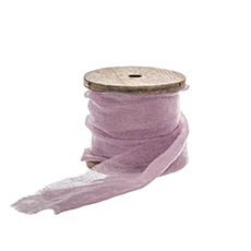 Cotton & Linen Ribbons - Faux Silk Ribbon Frayed with Wooden Spool Lavender (80mmx5m)