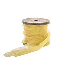 Cotton & Linen Ribbons - Faux Silk Ribbon Frayed with Wooden Spool Lemon (80mmx5m)