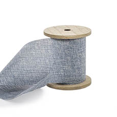Cotton & Linen Ribbons - Linen Look Ribbon with Wooden Spool Blue (80mmx5m)