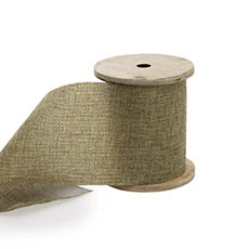 Cotton & Linen Ribbons - Linen Look Ribbon with Wooden Spool Moss (80mmx5m)