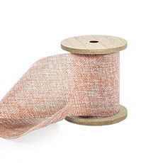 Cotton & Linen Ribbons - Linen Look Ribbon with Wooden Spool Peach (80mmx5m)