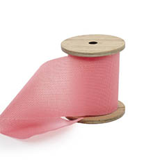 Cotton & Linen Ribbons - Linen Look Ribbon with Wooden Spool Pink (80mmx5m)