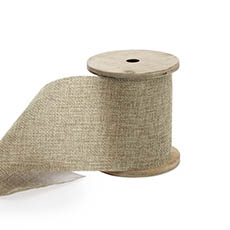 Cotton & Linen Ribbons - Linen Look Ribbon with Wooden Spool Sand (80mmx5m)