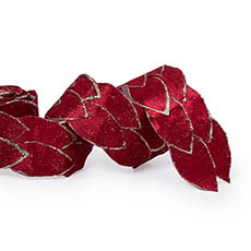 Metallic Ribbon - Leaf Shape Ribbon Red (65mmx2m)