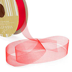 Bulk Organza Ribbon Cut Edge Red (25mmx100m)