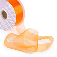 Organza Ribbons - Ribbon Deluxe Organza Cut Edge Orange (50mmx50m)