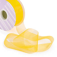 Organza Ribbons - Ribbon Deluxe Organza Cut Edge Yellow (50mmx50m)