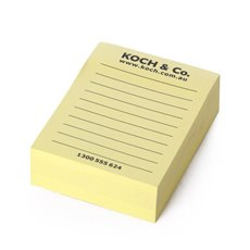 Sticker Note 3x4 300 Sheets w/Lines & Koch Logo Yellow