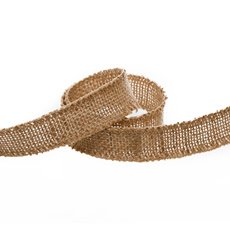 Natural Jute Ribbon Sewn Edge Natural (25mmx10m)