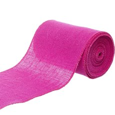 Jute Ribbons - Jute Roll Sewn Edge Hot Pink (150mmx10m)