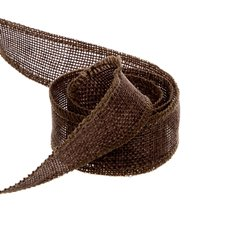 Poly Flax Jute Ribbon Sewn Edge Brown (25mmx10m)