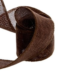 Poly Flax Jute Ribbon Sewn Edge Brown (50mmx10m)
