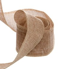 Jute Ribbons - Poly Flax Jute Ribbon Sewn Edge Natural (50mmx10m)
