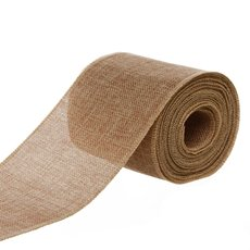 Jute Ribbons - Poly Flax Jute Ribbon Sewn Edge Natural (100mmx10m)