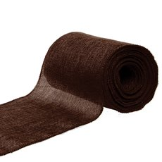 Poly Flax Jute Ribbon Sewn Edge Brown (150mmx10m)